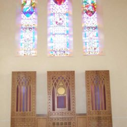 Reredos stained glass engravings unique church design special