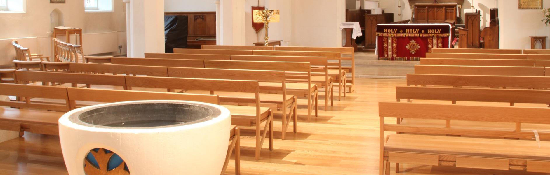 ICS pews designed for St. John's Church, Farncombe