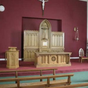Reredos wooden craft bespoke engravings cross sanctuary lamp altar furniture