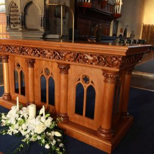 ICS Product Altar Bespoke Engravings Detail Beautiful Master Craft Church Innovation Skill Far Shot (2)