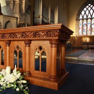 ICS Product Altar Bespoke Engravings Detail Beautiful Master Craft Church Innovation Skill Far Shot