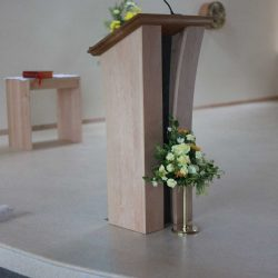 ICS Product Ambo left angled image microphone bench sanctuary church