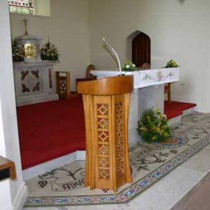 ambo left view engravings sanctuary bespoke altar tabernacle