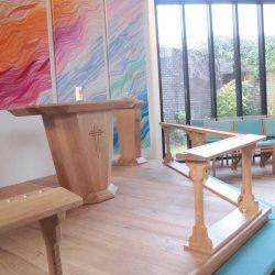 Communion Rails Upholstered Kneelers Blue altar art chairs