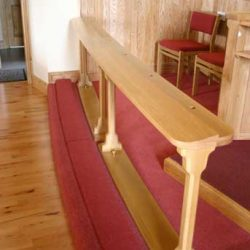 Communion Rail Church Kneelers Chairs Red Upholstery and Carpet