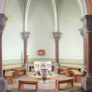 Formes Curved Sligo Cathedral Baptistery Bespoke Wide Shot