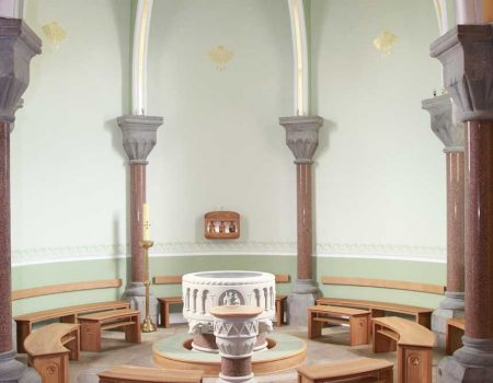 Formes Curved Sligo Cathedral Baptistery Bespoke Wide Shot