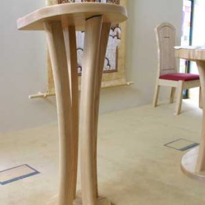Lectern unique four legs light wood colour sanded finish side view