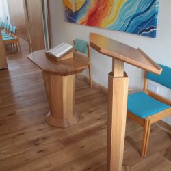 lectern and altar with book stand and upholstered chair