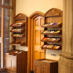 Pamphlet rack entrance furniture notices bespoke woodwork right side