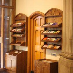 Pamphlet rack entrance furniture notices bespoke woodwork right side