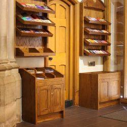 Pamphlet rack entrance furniture notices bespoke woodwork left side