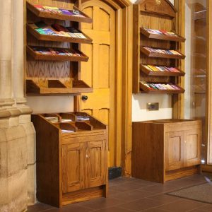 Pamphlet rack entrance furniture notices bespoke woodwork left side