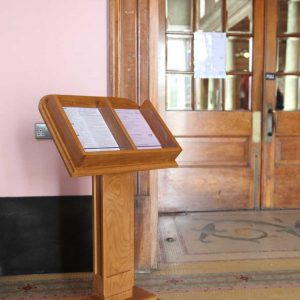 Literature display unit entrance furniture glass cover bespoke design