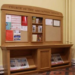 Notice Board pamphlet rack wooden craft bespoke fitted unique inscription