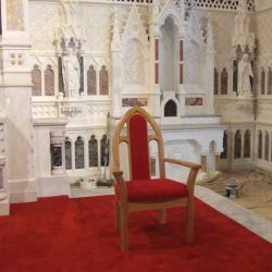 presiders chair upholstered arms upholstered red in church bespoke