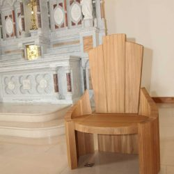 Presiders chair all wood solid wood with curved design and bespoke arms and back