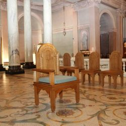 Presiders chair bespoke traditional design blue upholstered cushion lectern cathedral engravings and details