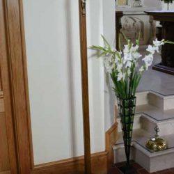 Sanctuary cross crucifix circular bottom metal statue