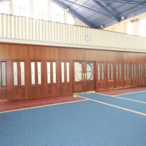 Architectural Joinery screens wide door stained glass church entrance large wide left angle