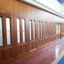 Architectural Joinery screens wide door stained glass church entrance large far left angle