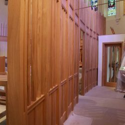 Architectural joinery screen side view along church Raheen Co Laois