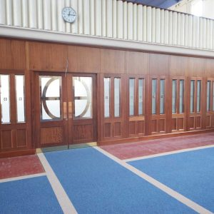 Architectural Joinery screens wide door stained glass church entrance large mid range left