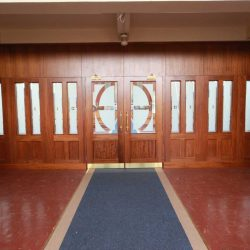 Architectural joinery door close bespoke entrance large wooden