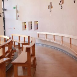 Curved Pews bentwood back bench attached to wall modern day place of worship