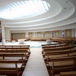 Curved Pews landscape bespoke design sanctuary circular modern worship space