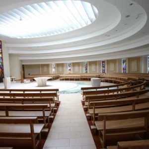 Curved Pews landscape bespoke design sanctuary circular modern worship space