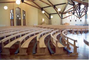 Curved Pews bespoke design kneelers bentwood