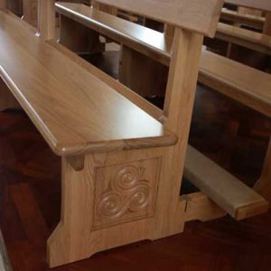 Modern Bench Pew close up engraving kneeler church bespoke design