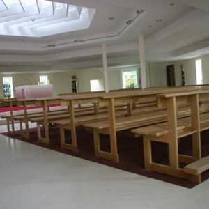 Modern Bench Pew bespoke church durable wooden side view (2)