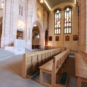 Modern Bench Pew portrait all wooden frontals large church cathedral