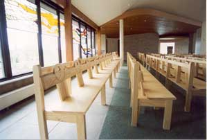 Modern Bench Pew close up kneeler church bespoke design