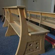 Modern Bench Pew close up engraving kneeler church bespoke design (2)