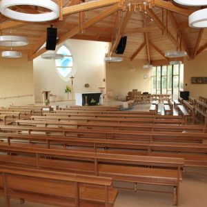 Modular seating non-stacking rear view church all wooden bespoke design