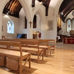 Farncombe modular stacking bench in Church all wooden bespoke design