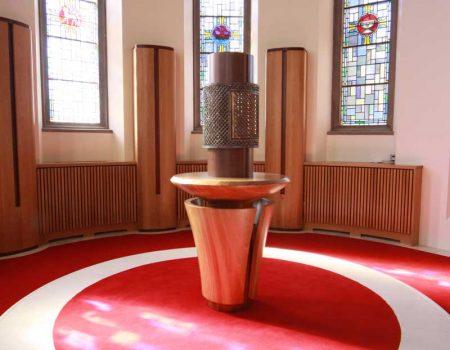tabernacle stand mid range shot curved bespoke craft design