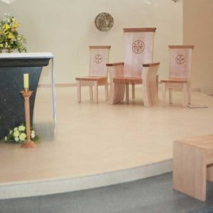 Wedding chairs and presiders chair in sanctuary formes engravings