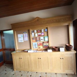 Armagh Free Presbyterian noticeboard pamphlet rack entrance furniture bespoke
