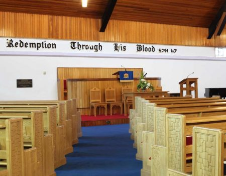 Armagh Free Presbyterian Pews benches middle aisle bespoke engravings sanctuary