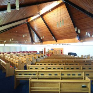 Armagh Free Presbyterian wide view from back of church bespoke benches pews bookshelves