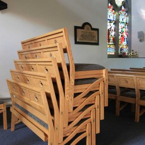 Chadderton bench stacked 5 high book shelf engraving cut out bespoke unique made to order church furniture (2)