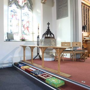 Chadderton communion rail wooden bespoke kneeler church