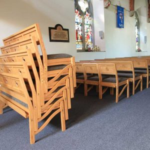 Chadderton bench stacked 5 high book shelf engraving cut out bespoke unique made to order church furniture (3)