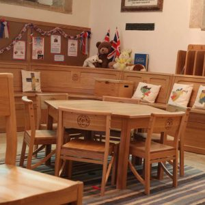 Cuckfield children's chairs and table close up engravings