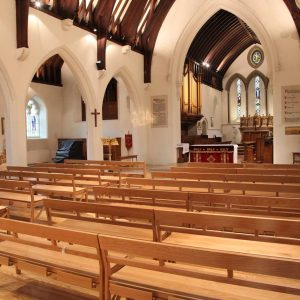 Farncombe church benches stackable bespoke design sanctuary landscape