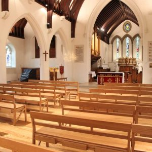 Farncombe church benches stackable bespoke design sanctuary